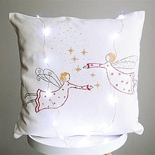 Úžitkový textil - Ľanový vankúš - červené anjeliky - 12623337_