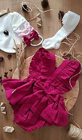 Detské oblečenie - Ľanové šaty s volánmi a mašľou - 12620354_