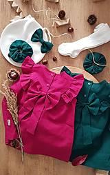 Detské oblečenie - Ľanové šaty s veľkým volánom a mašľou (prírodná - piesková) - 12620550_