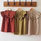 Detské oblečenie - Ľanové šaty s veľkým volánom a mašľou (prírodná - piesková) - 12620552_