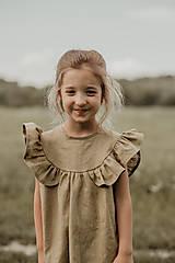 Detské oblečenie - Ľanové šaty s veľkým volánom a mašľou (prírodná - piesková) - 12620577_