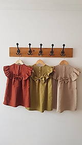 - Ľanové šaty s veľkým volánom a mašľou (prírodná - piesková) - 12620607_