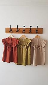 Detské oblečenie - Ľanové šaty s veľkým volánom a mašľou (prírodná - piesková) - 12620607_