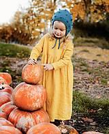- Detské ľanové šaty s riasením a dlhými rukávmi (horčicová) - 12620764_