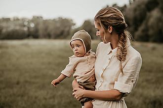 Šaty - Ľanové šaty košeľové - Labuť - 12624768_