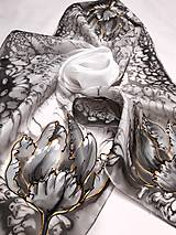 Šatky - Hodvábna šatka s monogramom - 12624783_