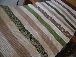 Úžitkový textil - Tkaný hnedo-zelený koberec - 12622258_