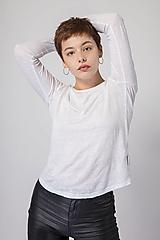 - Dámske ľanové tričko Šalvia biela L - 12631537_