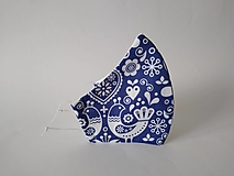 Dizajnové rúško vtáčik modré prémiové tvarované dvojvrstvové