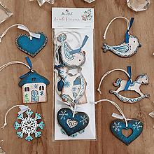 Dekorácie - Sada drevených ozdôb - Retro modrá - 12629095_