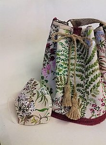 "Kabelky - Maľovaná ľanová kabelka s rúškom "" Papraď a ibištek "" - 12630749_"