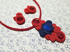 Sady šperkov - Beáta - Red&Blue - šujtášový set - 12629558_