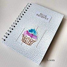 Papiernictvo - Receptár Modrý bublinkový Cupcake A5 - 12629834_