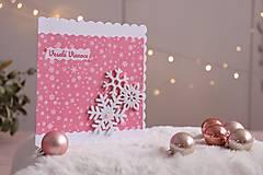 Papiernictvo - Vianočná pohľadnica - ružová vločka - 12631594_