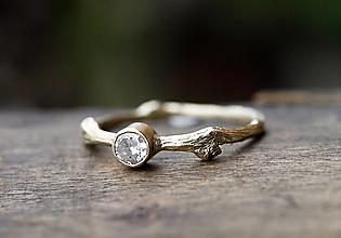 Prstene - Vetvičkový sa zirkónom v zlate - 12631850_
