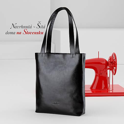 Veľké tašky - Kožená shopper bag taška - 12627579_