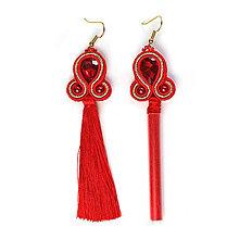 Náušnice - TASSY I - červené strapcové náušnice - 12629825_