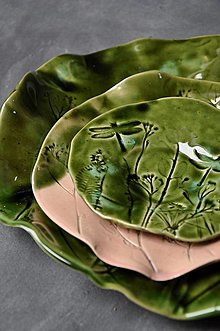 Nádoby - tanierik, podšálka, kruh zelená príroda - 12629899_