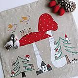 Úžitkový textil - Ľanový vankúš - muchotrávky - 12629532_