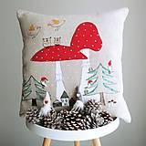 Úžitkový textil - Ľanový vankúš - muchotrávky - 12629533_