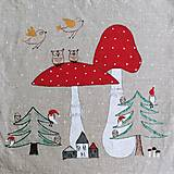 Úžitkový textil - Ľanový vankúš - muchotrávky - 12629534_