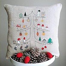 Úžitkový textil - Ľanový vankúš - stromček - 12629503_