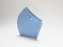 Tvarované dvojvrstvové rúško- nebovo modré s korálkami