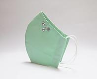 Rúška - Tvarované dvojvrstvové rúško - mentolovo zelené s korálkami - 12627467_