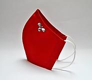 Tvarované dvojvrstvové rúško - červené s korálkami