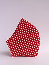 Rúška - rúško červené s bielymi bodkami - s drôtikom antibakteriálne - 12635497_