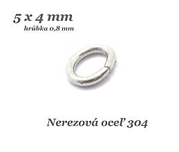 Komponenty - Uzavretý spoj.oválik 5x4x0,8mm /M9013/- nerez.oceľ 304 - 12633503_
