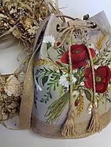 """Kabelky - Maľovaná ľanová kabelka s rúškom """" Lúčna kytica II."""" - 12634811_"""