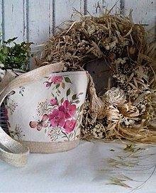 """Kabelky - Maľovaná ľanová kabelka so šatkou """" Divoká ruža """" - 12632946_"""
