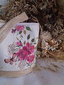 """Kabelky - Maľovaná ľanová kabelka so šatkou """" Divoká ruža """" - 12632950_"""