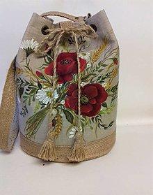 """Kabelky - Maľovaná ľanová kabelka s rúškom """" Lúčna kytica II."""" - 12634834_"""
