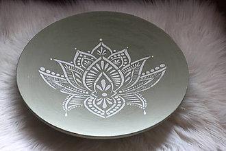Nádoby - Drevená ručne maľovaná olivová misa Lotosový kvet - 12634787_