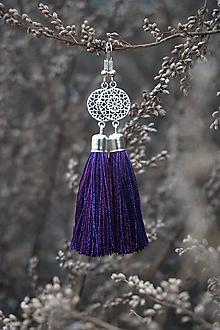 Náušnice - Náušnice strapcové fialové - 12635698_