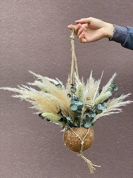 Boho závesná dekorácia - pampas trávy