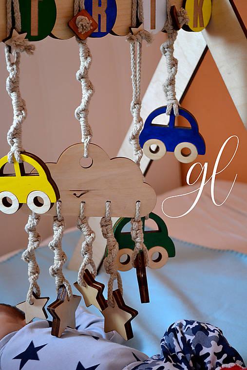 Drevená hrázdička pre deti (obláčik s hviezdičkami)