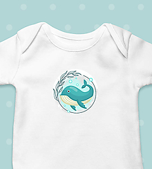 """Detské oblečenie - Detské body """"Veľryba"""" - krátkorukávové / dlhorukávové - 12633855_"""