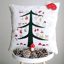Úžitkový textil - Ľanový vankúš - vianočný stromček - 12635326_