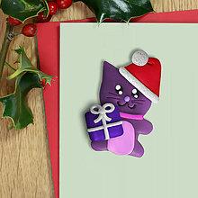 Magnetky - Vianočná mačička - magnetka - 12634352_