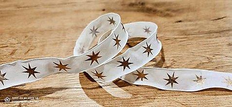 Galantéria - Ozdobná stuha 25 mm - S drôtom -Hviezdy  (Zlatá) - 12640450_