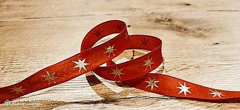 Galantéria - Ozdobná stuha 25 mm - S drôtom -Hviezdy  (Červená) - 12640451_