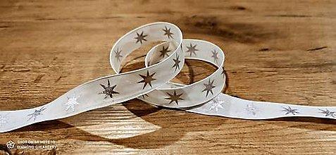Galantéria - Ozdobná stuha 25 mm - S drôtom -Hviezdy  (Strieborná) - 12640452_