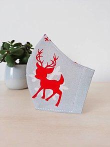 Rúška - Vianočné rúško jelenčeky a vločky, pánske, dámske a detské veľkosti - 12641465_