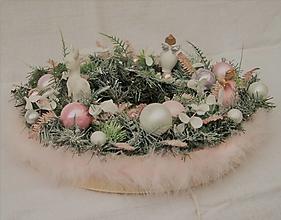 Dekorácie - Veniec vianočný 48 - ružový - 12639261_
