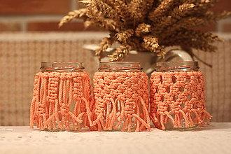 Svietidlá a sviečky - Darčeková sada 4ks makrame vintage svietnikov - 12639426_