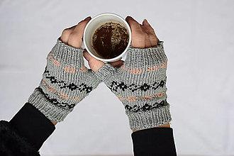 Rukavice - bezprstové rukavičky šedé s trblietavou nitkou - 12638634_