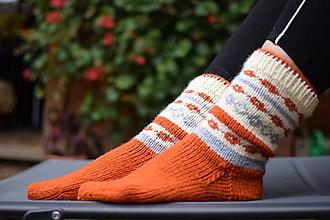 Obuv - terakota ponožky s nórskym vzorom (v.40-41) - 12638824_